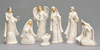7 Piece Paper Cut Style Nativity Set - 7.5 inches