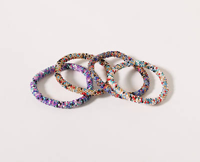 "Glass Nepal Sprinkle Bracelet 7"" - Various Colors"