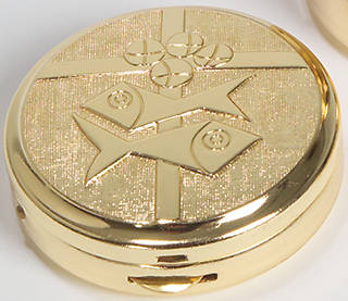 "Koleys K3265 10 Host Cap 24K Gold Plated Pyx Bright & Satin 1 3/4"" x 1/2"""