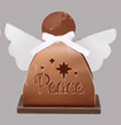 Picture of Tin Christmas Tabletop Angel with Laser Cutout Design- Peace