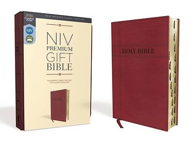 Picture of NIV, Premium Gift Bible, Leathersoft, Burgundy, Red Letter Edition, Indexed, Comfort Print