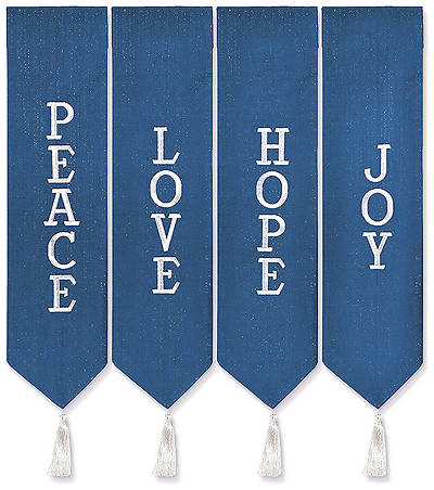 Advent Wreath Banners - Blue with White