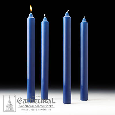 """Picture of Cathedral Advent Candle Set 16"""" X 1-1/2"""" - 4 Sarum Blue"""