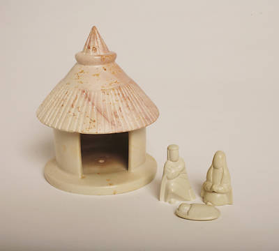 Natural Stone Hut Nativity - 4pc -Kenya