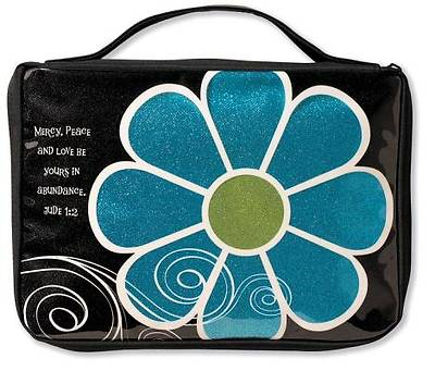 Mod Flower Sparkle Blue Medium Black Book & Bible Cover
