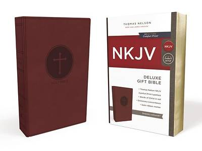Picture of NKJV, Deluxe Gift Bible, Imitation Leather, Burgundy, Red Letter Edition