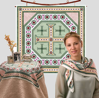 Jerusalem Cross Silk - Square 35