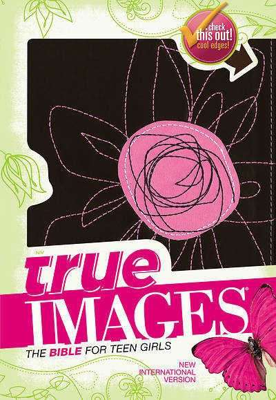 NIV True Images Bible Italian Duo-Tone Pink Flower