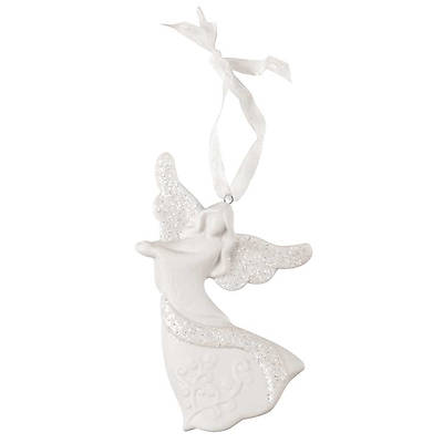 White Porcelain Glitter Dancing Angel Ornament