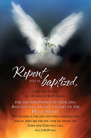 Pentecost/Repent and Be Baptized Bulletin, Regular (Package of 100)