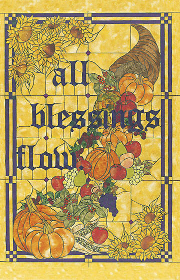 Stained Glass All Blessings Flow Thanksgiving Banner 3 X 48""