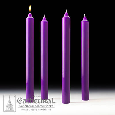 """Picture of Cathedral Advent Candle Set 16"""" X 1-1/2"""" - 4 Purple"""