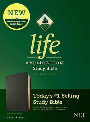 Picture of NLT Life Application Study Bible, Third Edition (Red Letter, Genuine Leather, Black)