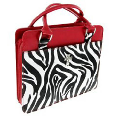 Zebra Print Purse-Style with Red Bible Cover Large