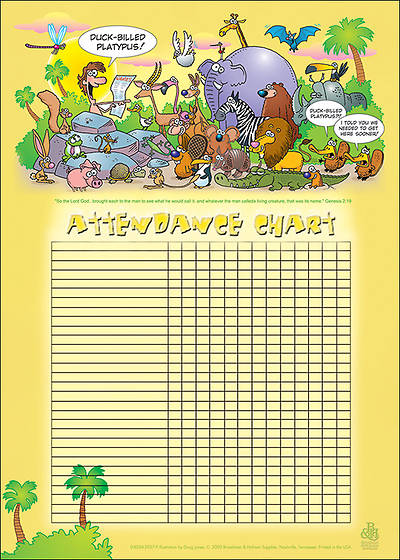 Picture of Adam Names the Animals Attendance Chart