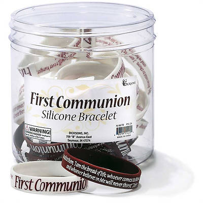First Communion Silicone Bracelets - Assorted Pkg of 24