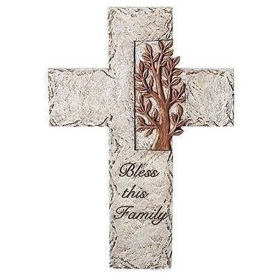 """Picture of Bless This Family  Tree of Life Wall Cross Blue 9.75"""""""