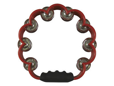 "Scalloped Double Row Tambourine - 8"", Red"
