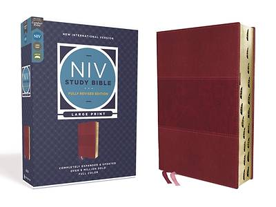 Picture of NIV Study Bible, Fully Revised Edition, Large Print, Leathersoft, Burgundy, Red Letter, Thumb Indexed, Comfort Print