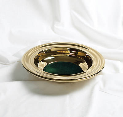 RemembranceWare Brass Offering Plate with Green Felt
