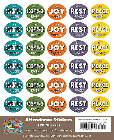 Vacation Bible School (VBS) 2018 Rolling River Rampage Attendance Stickers (Pkg of 24)