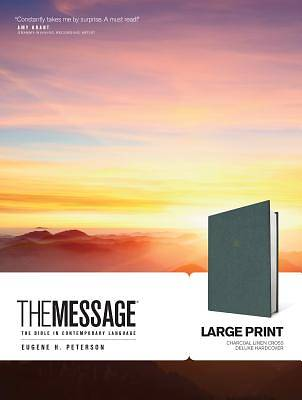 Picture of The Message Large Print Charcoal Linen Cross