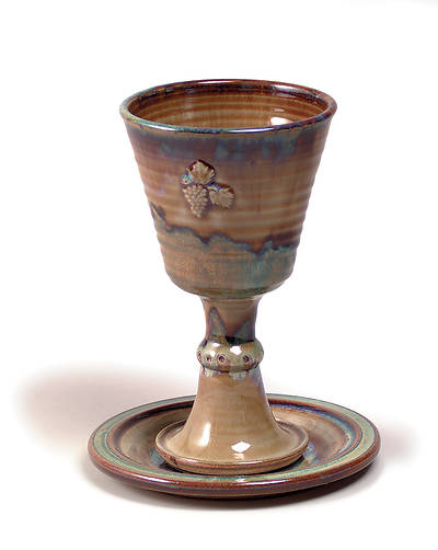 Earthenware Chalice and Paten Set, Brown