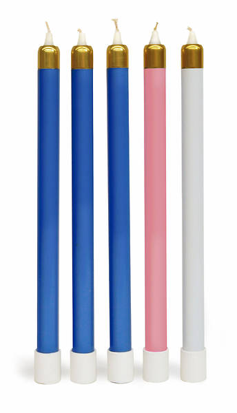 Advent Wreath Tube Candle Set - 3 Blue, 1 Rose, 1 White
