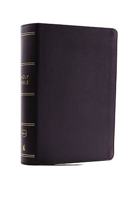 NKJV, Compact Single-Column Reference Bible, Genuine Leather, Black, Red Letter Edition, Comfort Print