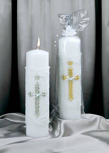 Silver Bridal Candle Hand Decorated Pillar