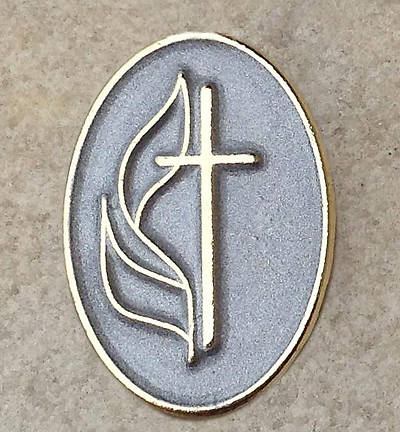 UMC Cross & Flame Two-Tone Lapel Pin