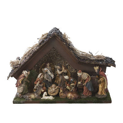 Musical Nativity Set - 10pcs with Stable