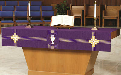 Kingdom Cross Purple Wool Altar Frontal