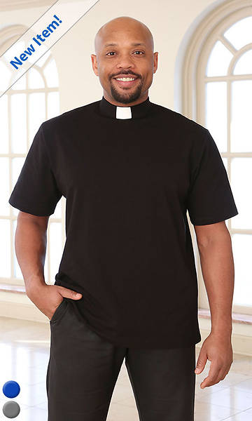 Picture of Abiding Spirit Men's Short Sleeve Knit Black Clergy Shirt Small