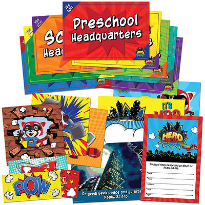 Vacation Bible School VBS Hero Central Activity Center Signs & Publicity Pak