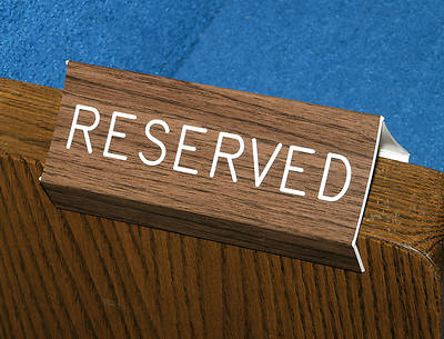 Picture of Reserved Pew Sign with Walnut Grain Finish