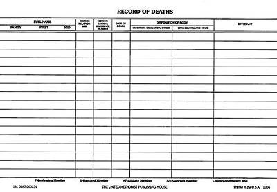 Record of Deaths (Pkg of 50)
