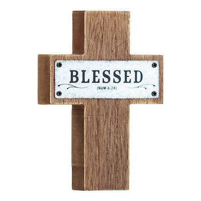 """Picture of Blessed MDF Wood and Metal Cross 5.5"""""""