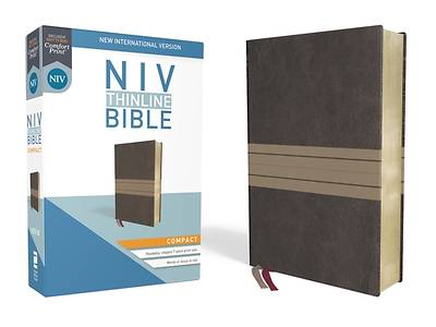 NIV, Thinline Bible, Compact, Imitation Leather, Brown/Tan, Red Letter Edition