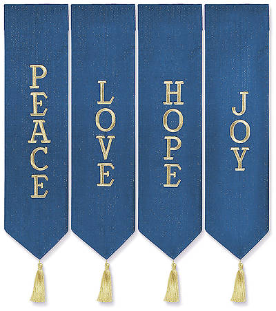 Advent Wreath Banners - Blue with Gold