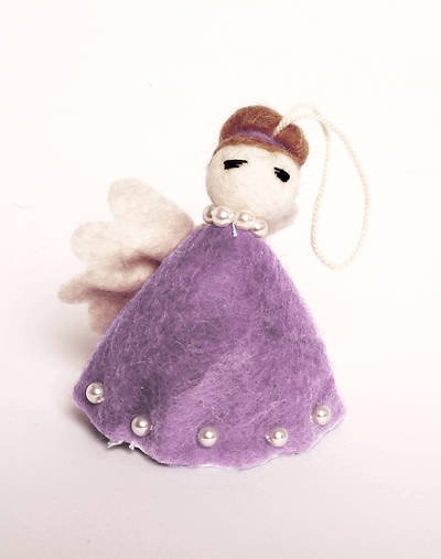 Felt Angel Ornament - Purple Dress