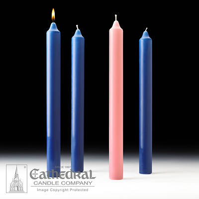 """Picture of Cathedral Advent Candle Set 16"""" X 1-1/2"""" - 3 Sarum Blue, 1 Rose"""