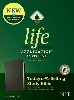 Picture of NLT Life Application Study Bible, Third Edition (Red Letter, Genuine Leather, Black, Indexed)