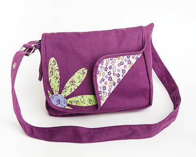 Faithgirlz Messenger Bag Fabric Medium Grape Book & Bible Cover [With Detachable Coin Purse]