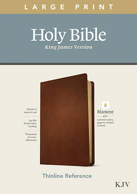 Picture of KJV Large Print Thinline Reference Bible, Filament Enabled Edition (Red Letter, Genuine Leather, Brown)