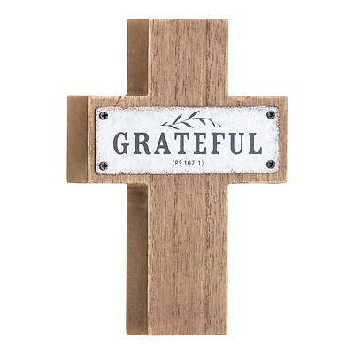 """Picture of Grateful MDF Wood and Metal Cross 5.5"""""""