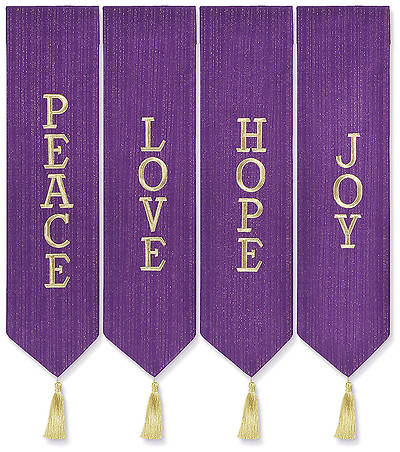 Advent Wreath Banners - Purple with Gold