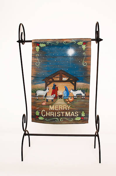 Merry Christmas Nativity House Suede Flag