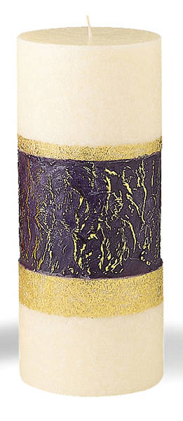 "Advent Wreath Pillar Candle Ivory with Purple Band 4"" x 9"""