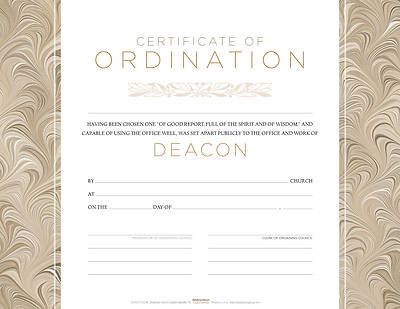 Deacon Ordination Flat Certificate